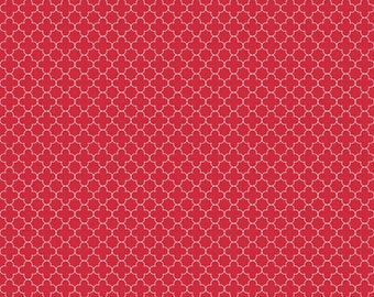 Mini Red Quatrefoil  Cotton Fabric - Riley Blake Fabrics - Perfect for Quilting, Nursery, Kids Clothing