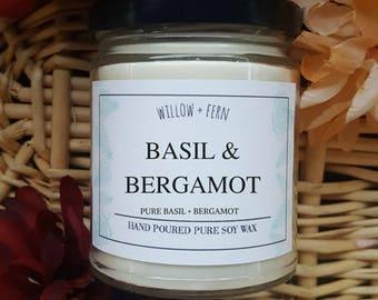 Basil and Bergamot, Bergamot Basil Candle, Bergamot Basil Scent, bergamot basil candle, Essential Oil Candle, Essential Oil Soy candle