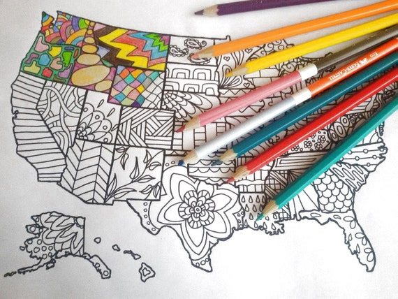 united states america map kids adult coloring etsy sales book