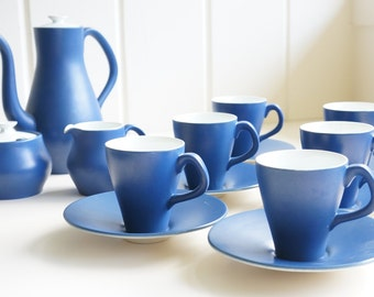 Dutch Designer Zweitse Landsheer Fiesta Blue Goedewaagen Coffee Service / Tea Set
