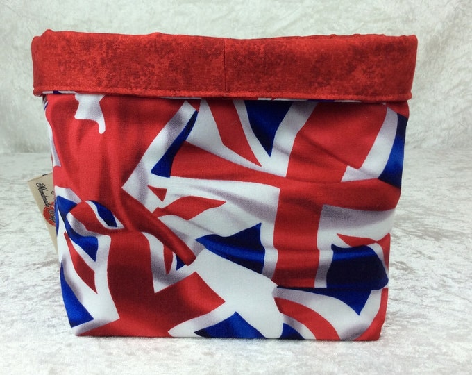 Union Flags  fabric basket storage bin box flowers Union Jacks