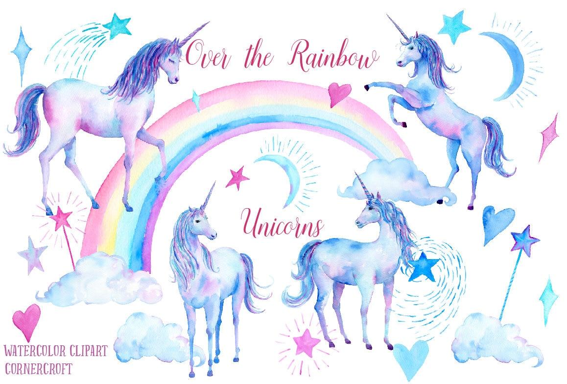 Unicorn Clip Art Over The Rainbow Unicorns Unicorn