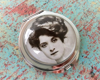 Victorian Compact Mirror, Vintage Compact Mirror, Silver Compact Mirror, theoldmillshoppe, Steampunk Compact Mirror, Glass Mirror, Mirror