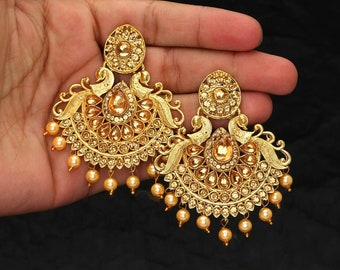 Kundan Earrings/Indian Jewelry/Kundan Jewelry/Bridal Jewelry/Designer Earrings/Ethnic Earrings