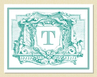 Beautiful Rococo Cartouche - Personalized Note Cards (10 Folded)