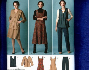 Simplicity 2539 Slimming Princess Seam Dress or Jumper Chic Jacket & Vest Size 20W to 28W UNCUT