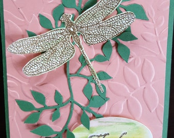 Gold Dragonfly Thank You Card TY4