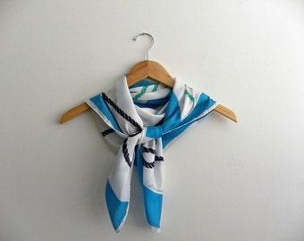 Nautical Knots Vintage Leonardi Scarf - Teal and Blue