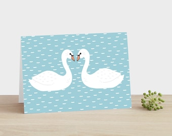 Swan Anniversary Card Swan Wedding Card Swan Engagement Card Blue Sky Card Swans in Love card Nature Inspired Card Swans Kissing Card