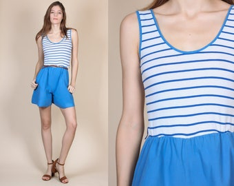 80s Striped Romper // Vintage Oops California Nautical Playsuit Shorts