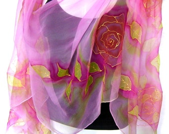 Roses Silk Scarf, Hand Painted Silk Scarf, Rose Quartz Pastel Pink Lime Green, Floral Chiffon Silk Scarf