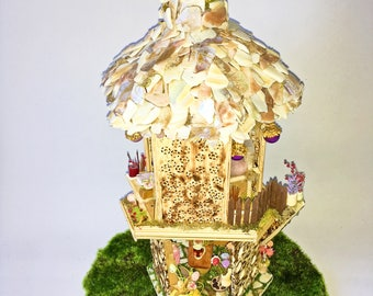 Two Story Fairy House-ocean view-seashell-forest-magic