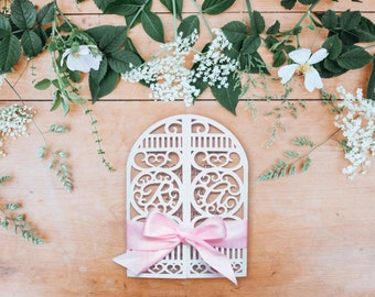 Laser Cut Wedding Invitation Gate Fold with Pink Bow and Envelope. Customisable Names and Ribbon Colour. Vintage, Rustic Lace.