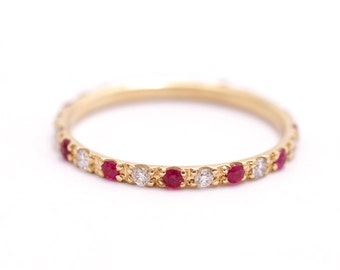 Eternity Wedding Band, Ruby Eternity Band, Diamond Eternity Band, Gold Ruby Ring, Ruby Wedding Ring, Thin Eternity Band, Boho Wedding Band