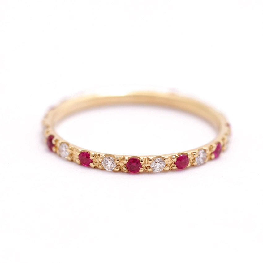 wedding gold c diamond w ruby rose in t v bands eternity rings anniversary band zales