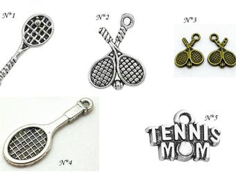 sport Tennis racket charm - silver plated bronze - tennis ball charms silver tennis ball