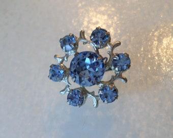 Vintage Silver Tone and Blue Rhinestones Miniature Brooch.
