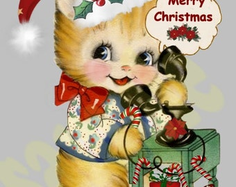 Vintage  Christmas cat on telephone, digital, download, printable, greeting card image