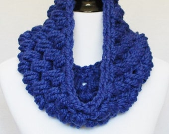 Blue Crochet Cowl, Blue Puff Stitch, Chunky Crochet Cowl, Bobble Neck Warmer, Infinity Scarf - Giant Bobble, Royal Blue