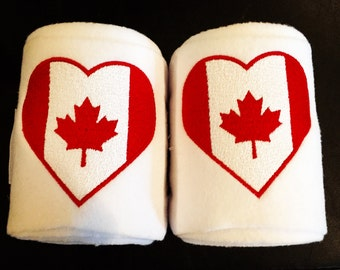 Canadian Flag Heart Embroidered Polo Wraps