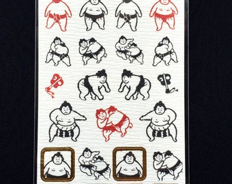 Japanese Stickers - Sumo Wrestlers - Sumo Wrestler Stickers  Washi Paper (S272)