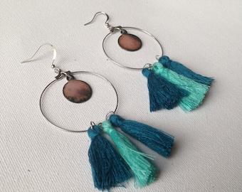 Pink enameled copper earrings lilac + tassels