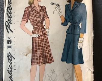 Vintage 40s Simplicity 4219 Suit Pattern-Size 14 (32-26 1/2-35)