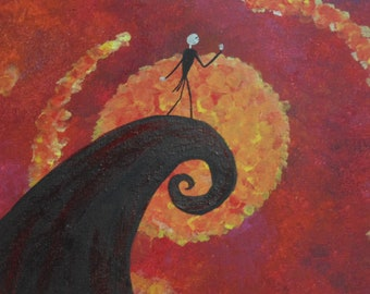 Original OOAK Nightmare Before Christmas Painting, One of a Kind, Ready to Hang, Signed, Jack Skellington, Tim Burton, Dabbed, Abstract