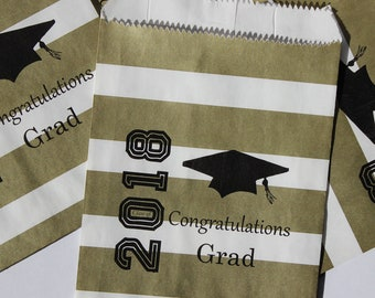 Personalized 2018 Graduation Party Favor Bags, Candy Bags, Popcorn Bags, Cookie Treat Bags, Congratulations Grad Goody Bags - 50 Bags