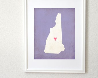 New Hampshire State Art Silhouette Map Personalized 8x10 Print