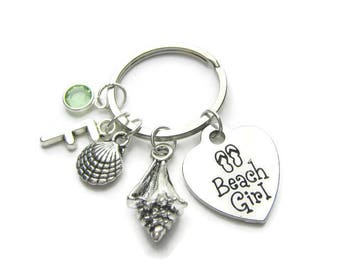 Beach Girl Keychain, Sea Shell Keychain, Conch Shell Keychain, Flip Flop Keychain,  Beach Keychain, Beach Lover Keychain, Personalized
