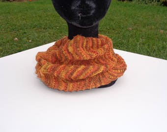 Collar snood handknitted autumnal colours