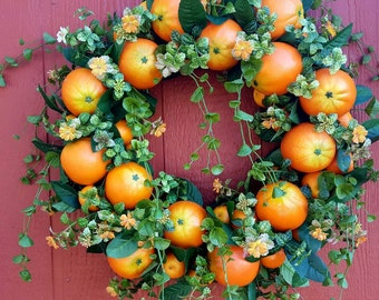 Orange Blossoms Wreath...Orange Wreath....Front Door Wreath....Patio Wreath.