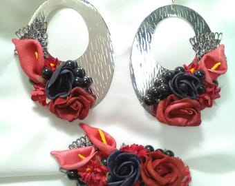 Earrings and flamenco peinecillo, earrings red and black flowers, fair, guest earrings, earrings, Mother's Day