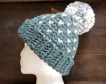 Little Hearts PomPom Beanie, Crocheted with acrylic/wool blend yarn, Large adult, Blueberry Blue with Marble white accent