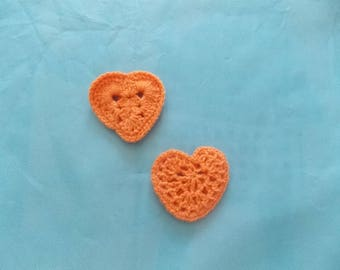 set of 2 small crochet hearts