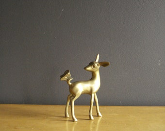 Brass Bambi - Small Vintage Brass Deer Figurine - Doe or Fawn Brass Animal Sculpture with Butterfly
