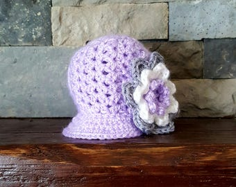 Newsboy Hat with Flower - Made To Order - You Choose Colors