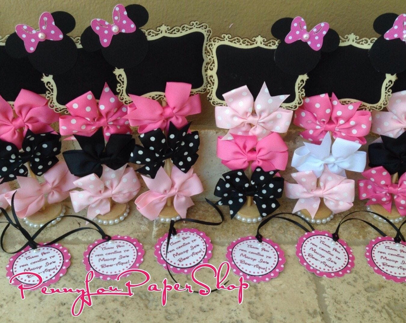 Set of Minnie Mouse Bowtique Standing Wood Chalkboard Stand