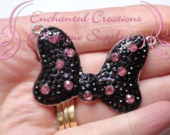 "2"" Minnie Inspired Bow Necklace Charm, Rockabilly Polka Dot Chunky Pendant, Keychain, Bookmark, Zipper Pull, Chunky Jewelry, Purse Charm"