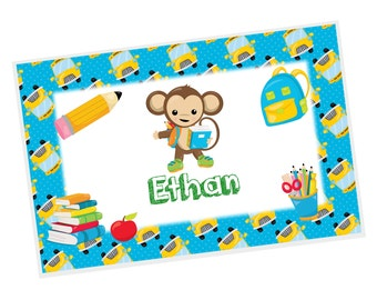 Monkey Personalized Placemat - Monkey School Boy Blue Polka Dot School Bus with Name, Customized Laminated Placemat