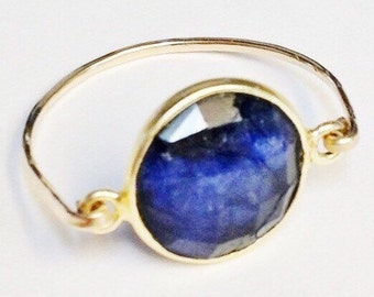 Sapphire Ring, Blue Sapphire Ring, 14K Gold Filled Ring, Sapphire Jewelry, September Birthstone, Dark Blue Sapphire, Birthstone Ring