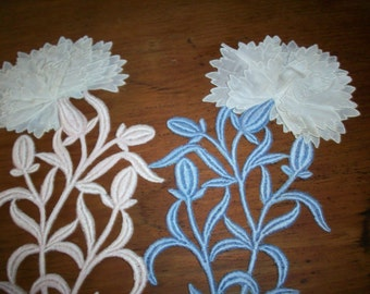 Antique 3- dimensional lace flowers in 3 different colors
