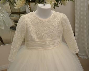 Flower Girl Dress, First Communion Dress, Cotillion Dress, Lace Dress, Holiday Dress