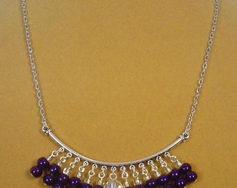"18"" Gorgeous, velvety VIOLET fringey focal necklace - N274"