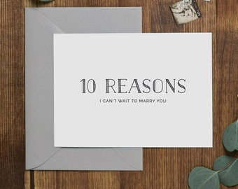 10 Reasons I Can't Wait To Marry You, Groom Card, Bride Card, Wedding Card to Bride or Groom, Card To My Groom, To My Bride, K5