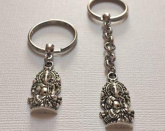 Silver Ganesh Keychain - Elephant Keychain - Hindu Keychain - Ganesha Key Ring - Ganesha Keychain - Yoga Keychain - Ganesh Zipper Pull