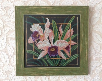 "cross stitch ""faithfulness"", embroidery, flowers, handmade"