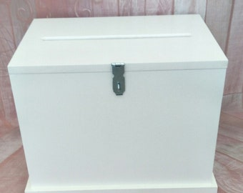 Large White Wishing Well with Hinge Lid - Price includes Shipping