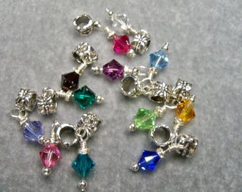 Birthstone Charms Swarovski Crystals Bicone Beads fits Pandora Bracelets & Chains Great Jewelry Gift